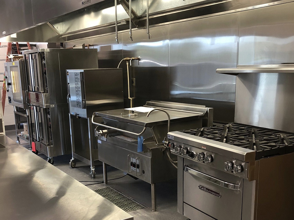 Range and Tilt Skillet in School Kitchen
